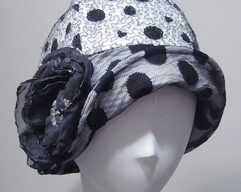 Cloche hat, 20' style,Cap,black&white,Hat,polka dot,evening, Chemo Caps, Chemo Hat, Stretchy caps,Hat for chemotherapy, sequin,lace,women.