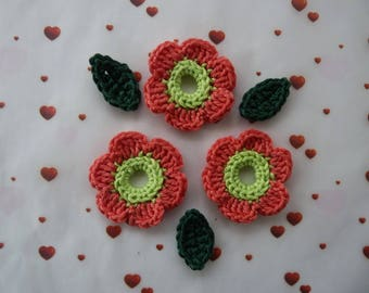3 flowers light green and coral roses and 3 green leaves crochet
