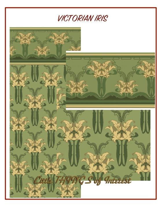 1/12 Scale Dollhouse Wallpaper VICTORIAN IRIS GARDEN Miniature Wallpaper
