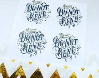 Please Do Not Bend stickers - Product packaging, postage label