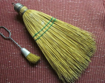 Vintage Straw Whisk Broom and Baster with Aluminum Top. Beautiful used character.
