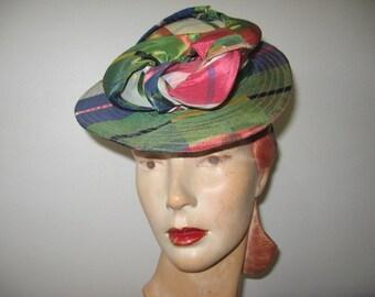 1940's Plaid Taffeta Tilt Sailor Hat!