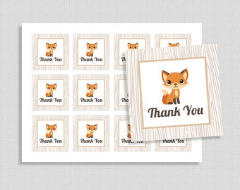 Thank You Favor Tags, Woodland Animals Shower Party Favor Tags, Gender Neutral, INSTANT PRINTABLE