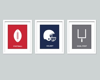 Football art sports prints, Set of 3 posters, Nursery art print sports wall decor