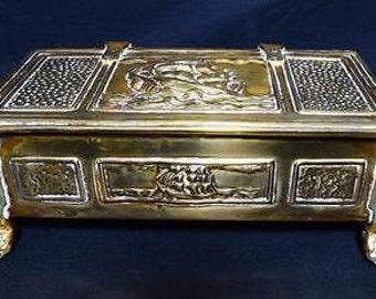 Vintage Art Nouveau Brass Ship Design Cigarette Box - C.1910s