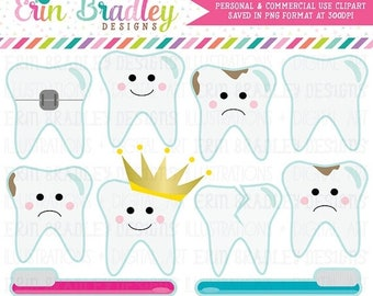 80% OFF SALE Dentist Clipart Tooth Teeth Clip Art Graphics with Cavities Braces Toothbrushes Instant Download Commercial Use