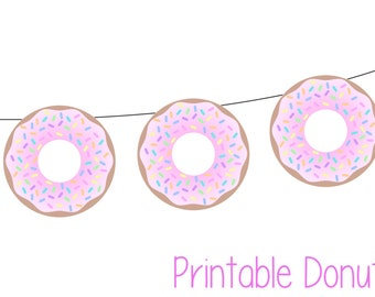 Donut Party Banner - Print at home! Pink Sprinkle Donut Party Banner (print as many as you need) Donut Party Decor, Doughnut Party Decor