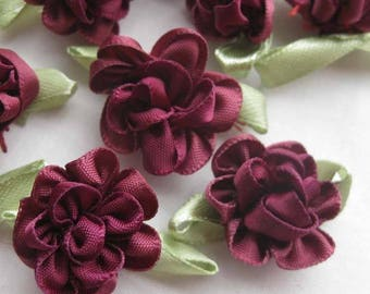 Sets of 6 applique satin flower has a sew or glue