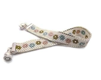 Electra woven weaving needle pastel bracelet