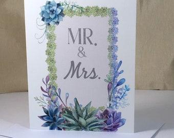 Succulents Wedding Congratulations Card - Nature, Botanical, Succulent Plants, Country Wedding- Digital Download or Print