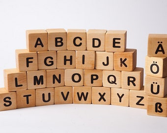 German Alphabet blocks, blocks with letters, wooden building blocks, eco fiendly toy