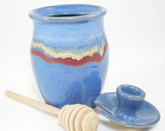 Pottery Honey Jar - Honey Pot - Honey Container - Sauce Jar - Pottery Honey Pot - Honeypot - Ceramic Honey Pot - Jam Jar - In Stock