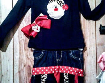 Leopard Christmas Custom Outfit 5t- 6t