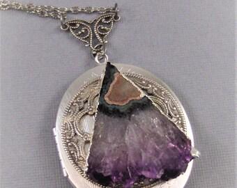 Amethyst Slice Locket,Amethyst Necklace,Amethyst Pendant,Amethyst In Handmade,Locket,Antique Locket,Silver Locket,Purple Locket,valleygirlde
