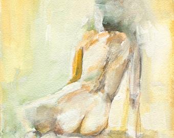 Original Figure Painting - Seated Nude Painting, Nude Watercolor Painting, Colorful Figure Painting
