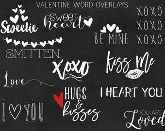 Valentine word photo overlays PNG - set of 12 - VAL02 - digital design elements, scrapbook, scrapbooking, word overlay, love, photo overlay