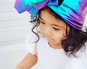 Mermaid Stretchy Headwrap- Mermaid Bow; Mermaid Headwrap; Mermaid Headband; Multi Colored Bow; Metallic Headband; Metallic Bow; Head Wrap