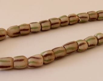 Vintage Off White with Green and Brown African Sandcast Tube Beads - OASC 110