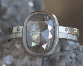 Natural Silver-Clear Rose Cut Diamond Ring with Pavé Band