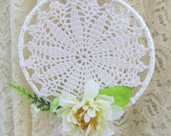 Wedding dreamcatcher crochet wreath or bouquet for bride or bridesmaid, Bohemian, Boho style wedding accessories.