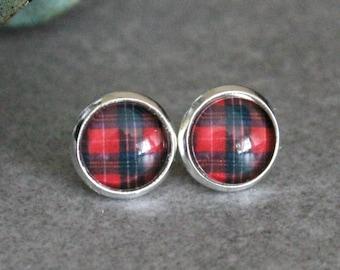 Red Stud Earrings, Red Earrings, Red Plaid Earrings, Red Post Earrings, Plaid Stud Earrings, Red Flannel Earrings, Red Stripe Earrings 10MM
