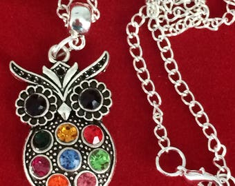 owl necklace , rhinestone owl , owl pendant , owl jewellery