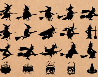 20 x Halloween Witches Silhouette Clipart/SVG,png,eps,jpg/Halloween Elements/png 300 ppi