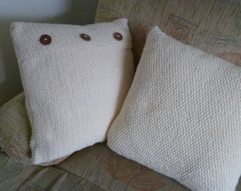 Bespoke, Handmade, Handcrafted Cable / Moss Stitch Cushion / Pillow covers. Matching  Throw can be ordered. Made in UK