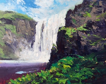 "Skogafoss, Icelandic landscape oil painting on paper, 10.5"" x 14""."
