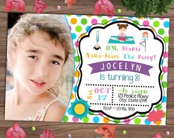 Yoga Birthday Invitation - Little Yogis Party Invite - Polka Dots - Namaste - Om Shanti Om - Printable or Printed - SHIPPING INCLUDED - 4x6
