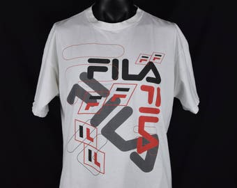 Vintage 90's FILA t-shirt / 90s Fashion / Sport / Streewear / Hip Hop Clothing / White / Made in USA / Stains / Fits like an XL