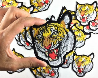 """TIGER Patch - Large Embroidery - Bengal Tiger - Tattoo Embroidery - DIY Denim Jacket - Size 3.25"""" x 4"""" (P158)"""