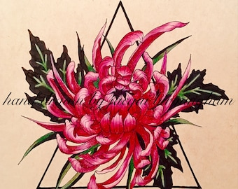 Maroon Flower Drawing