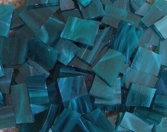 Mosaic Mosaics Tile TEAL green ish Handcut Stained Glass Tiles 50 pcs Mosaic Tile