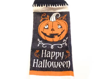 Happy Halloween Jack-O-Lantern Dish Cloth With Black Crocheted Top
