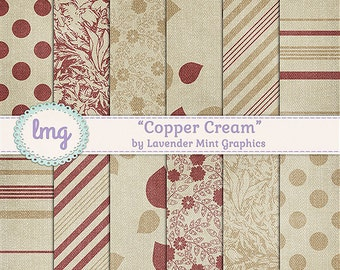 Copper and Cream Digital Scrapbook Paper Backgrounds - Shabby Chic Floral, Vintage Damask Patterns, Junk Journal, Instant Download,CU