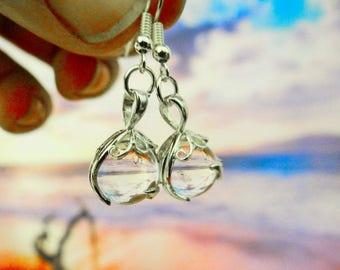 Quartz Gypsy Magic Crystal Ball Sterling Silver .925 Earrings Clear Crystal Boho Hippie Wicca Pagan Full Moon Earring Ear Ring Rings Earings