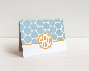 Personalized Custom Monogram Folded Polka Dot Notecard Stationery Stationary with Envelopes - Set of 20
