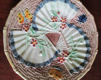 Antique English butterfly and fans plate