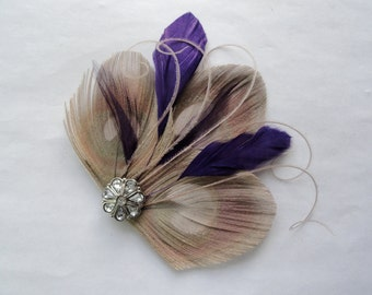 CICILY Gray and Purple Peacock Feather Hair Clip, Feather Fascinator
