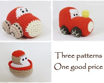 Car, boat and train toy crochet patterns - amigurumi patterns - boat, car and train engine - in US English