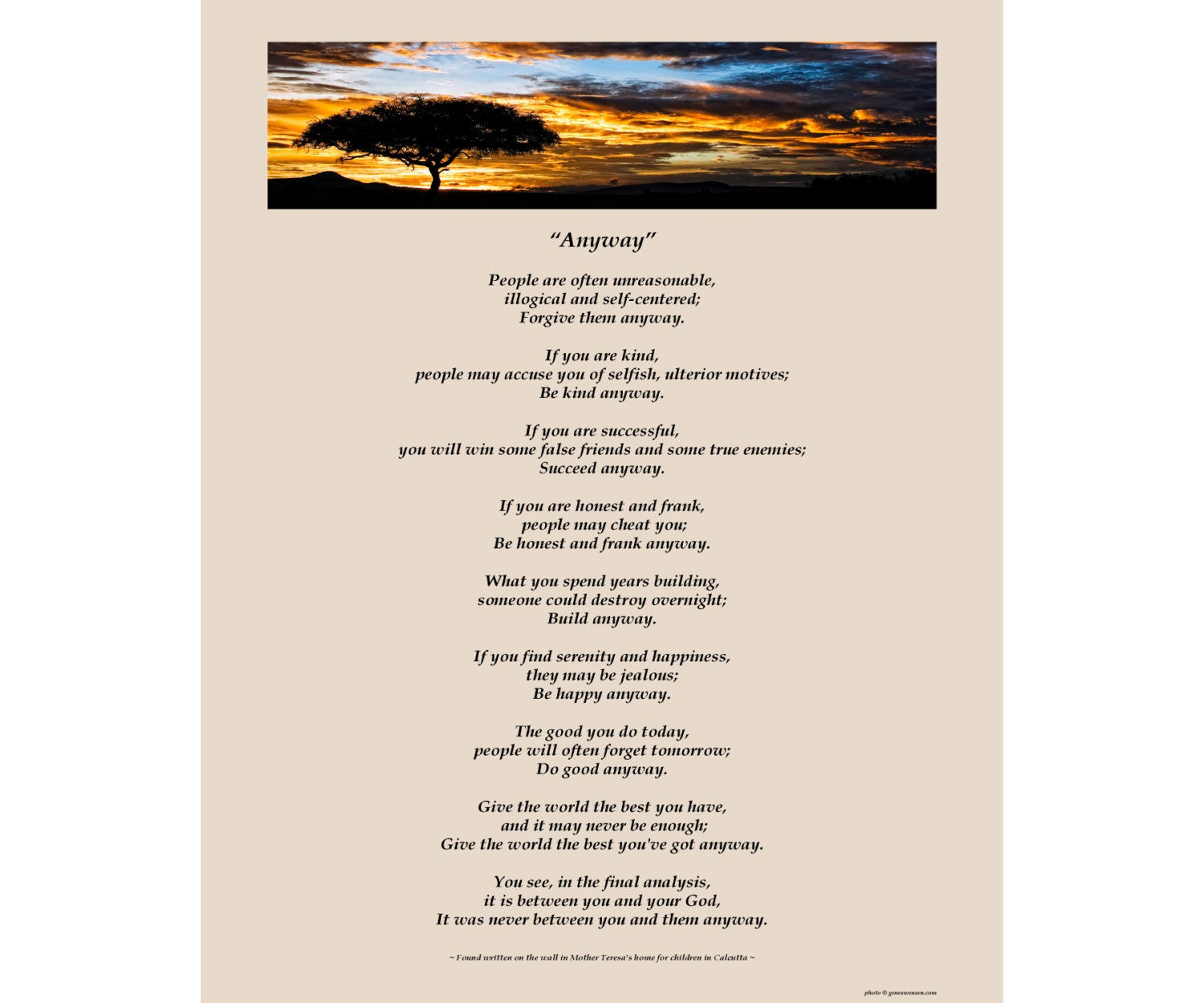 Mother teresas anyway poem available sizes 8x10 zoom thecheapjerseys Gallery