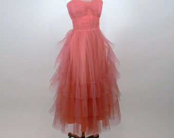 SALE 1950/60's Coral Pink Tulle Bombshell Party Dress