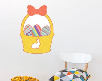 Easter Basket With Eggs Wall Sticker