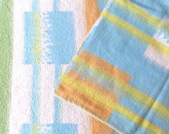 "Vintage Reversible Plaid, Rheumalon Super Blanket, Queen Size 60"" x 82"" Bedspread, Mid Century Geometric Blue Yellow Comforter Throw Blanket"