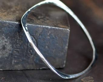 sterling silver bangle bracelet, square bangle, hand wrought silver bangle