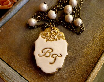 Bridal Jewelry - Initial Cameo - Ivory Gold and Pearls - Vintage Frame - Romantic and Dreamy