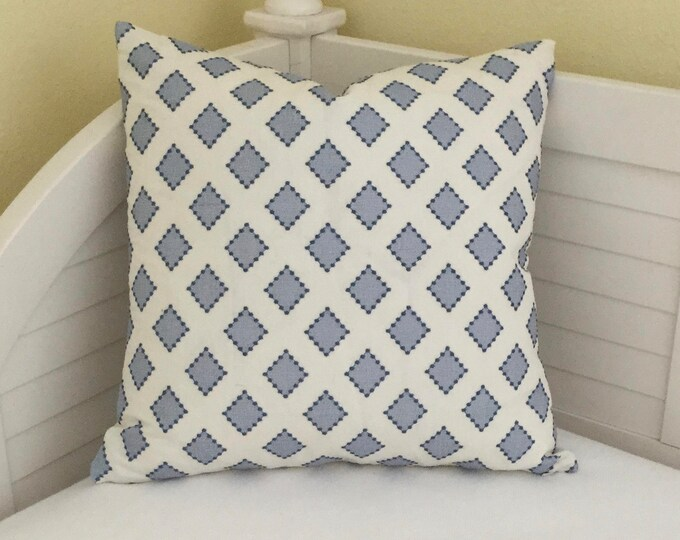FREE SHIPPING Kravet Diamondots in Indigo (both sides) Designer Pillow Cover - 20x20, Sarah Richardson fabric