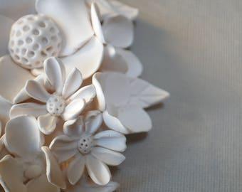 Florals Wall Sculpture - White Clay Flower Modern Minimalist Wall Decoration Textured Garden Inspired