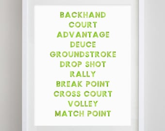 Tennis Words Watercolor Art Print